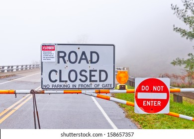 Road closed to Shenandoah National Park due to the government shutdown. Foggy day.