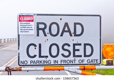 Road closed to Shenandoah National Park due to the government shutdown.