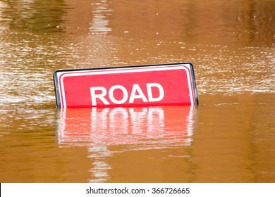Road closed sign because of flooding due to heavy rain in York, UK