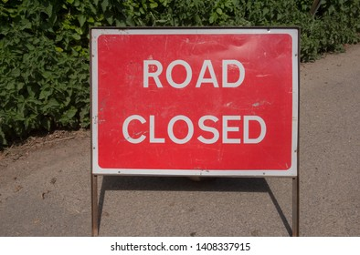 Road Closed Sign on a Quiet Country Lane in Rural Devon, England, UK
