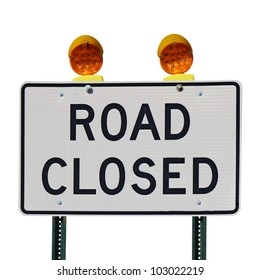 Road closed sign with orange lights against a white background square