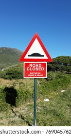 Road Closed. Road sign in South Africa