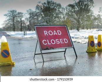 Road Closed sign in winter UK