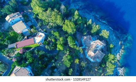 Road, coastline and houses of Calabria, beautiful aerial view in summer season.