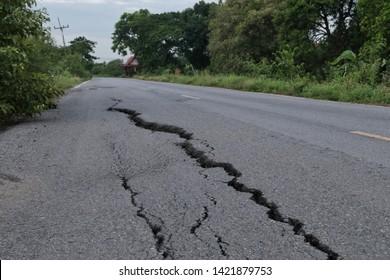 Road collapsed, Cracked asphalt road.