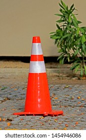 A road cone on the way