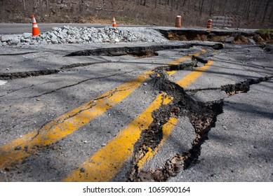 Road Construction After A Landslide