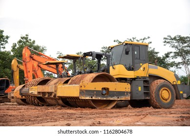 Road construction equipment machine at construction site