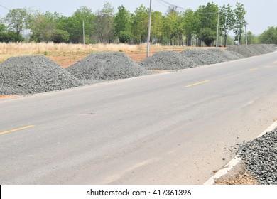 Road Construction Gravel  piles; Construction industry; Building materials