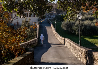 The road of the convent of San Francesco panoramic view of the medieval village of Colle di Val d'Elsa, Siena, Tuscany