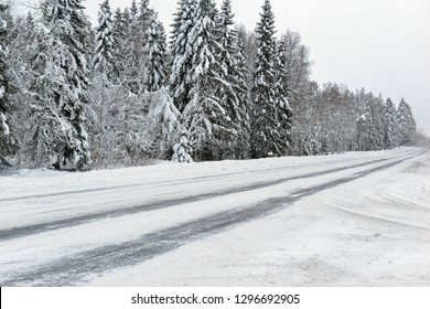 Road covered in ice and snow in Finland
