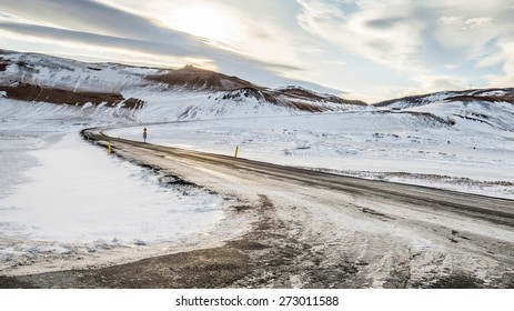 Road covered with snow , iceland