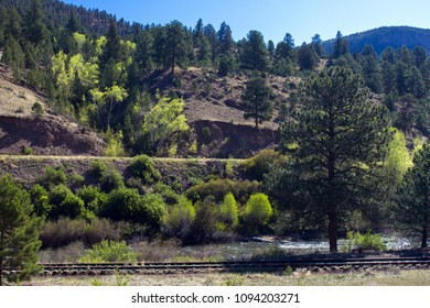 The road to Creede follows the RIo Grande and the railroad as it passes through the San Juan Mountains of southern Colorado