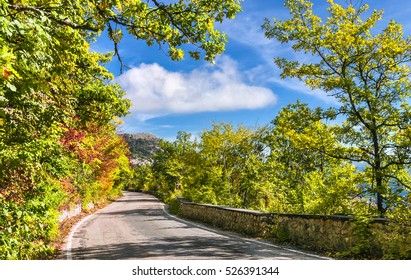 The road in Crimean Mountains down from Baydar Gate to Black Sea