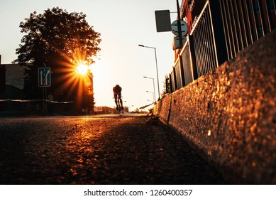 Road cycling race. silhouette of man on bicycle