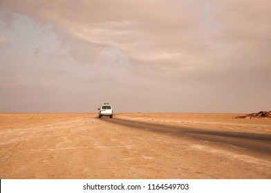 Road to Dallol volcano in the salt desert in the early morning at sunrise, Afar region, Danakil Depression, Northern Ethiopia