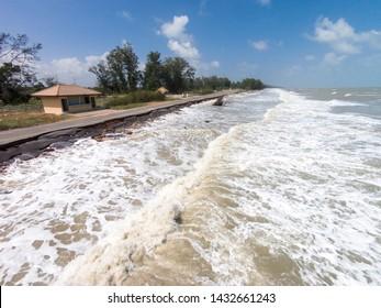 Road damage by sea waves erode