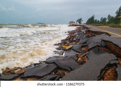 Road damage caused by sea waves erode