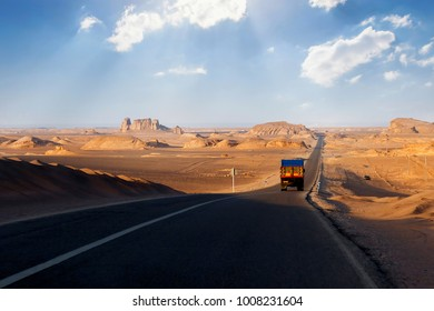 Road in the desert of Iran. Traveling to Iran by car.