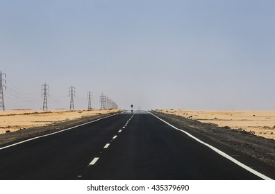 road desert mirage. Mirage on the road on the way from Aswan to Abu Simbel.