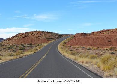 Road in the desert near Grand Canyon in Arizona, USA