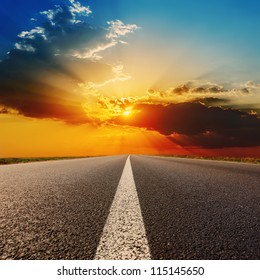 road to dramatic sunset