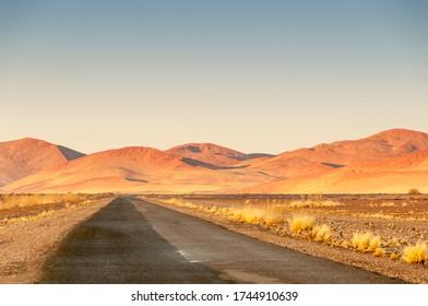 Road and dunes in the Namib Naukluft Park, Namib desert