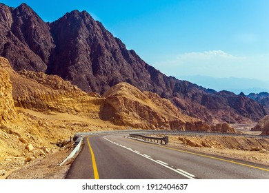 The road to Eilat - large international year-round resort. The highway connects Eilat city to the center of the country. The highway runs through the Eilat Mountains.