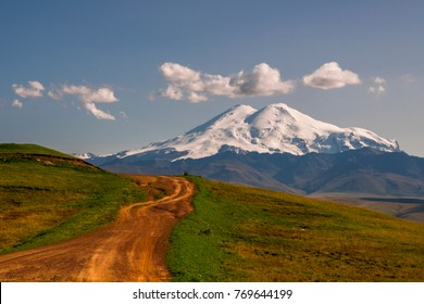 Road to Elbrus mountain at sunny Day. Elbrus Region, North Caucasus, Russia