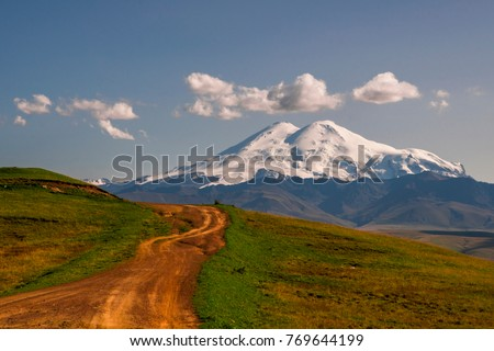 Road to Elbrus mountain