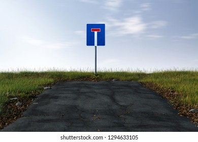 Road ends in a dead end (3D Rendering)