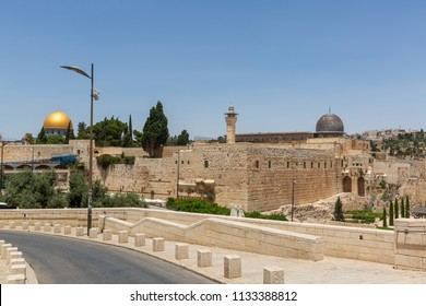 Road to entrance of square with Wailing wall and mousque Al-aqsa and Dome of the Rock in Jerusalem