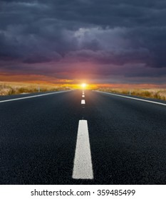The road and fantastic sunrise