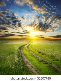 Road in field under sunset