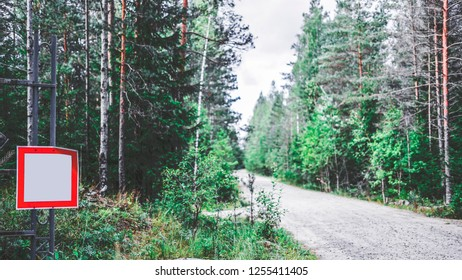 Road in the forest and sign