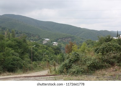 Road and forested mountains on background near medieval town Signagi (Sighnaghi), Kakheti region.