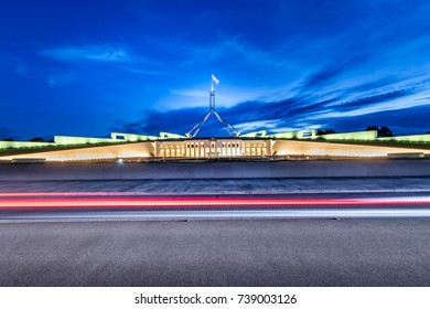 The road in front of the Canberra Parliament House