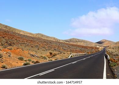 Road in Fuerteventura.Canary Islands,Spain.
