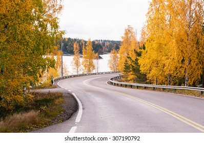 Road in Golden autumn