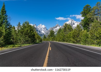 Road in Grand Teton National Park near Jackson, Wyoming