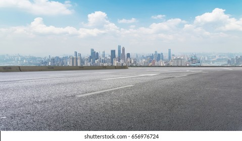 The road, the ground, and the beautiful skyline of Chongqing