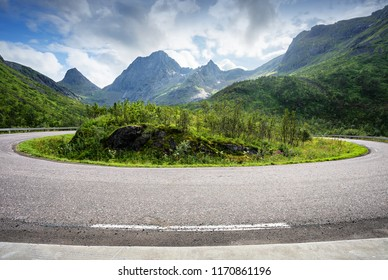Road with hairpin bend in Norway mountains. Landscape in summer day