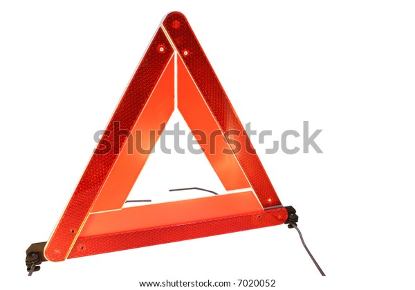 Road hazard warning triangle isolated on a white background