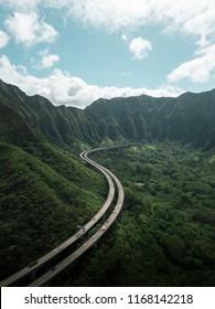 Road to Heaven. Oahu Highway in the mountain. Green Mountain. Hawaii.