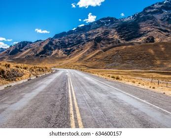 Road in high altitude in Peru