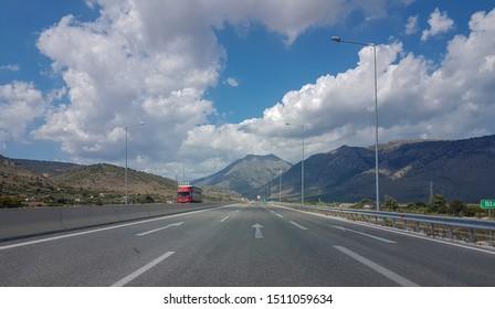 road highway street clouds blue sky speed