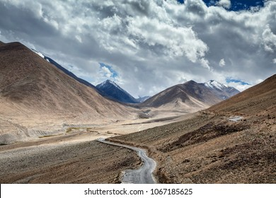 Road in Himalayas near Khardung La pass - allegedly the highest motorable pass in the world (5602 m). Ladakh, Jammu and Kashmir, India