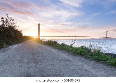 The Road to Hull, the Humber Bridge at Sunrise
