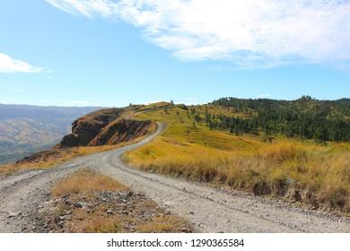 A road in the interior of the island of Viti Levu, the largest of the Fiji Islands. Nausori Highlands, Viti Levu, Fiji