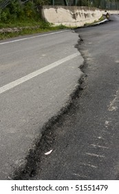 Road interrupted by an earthquake